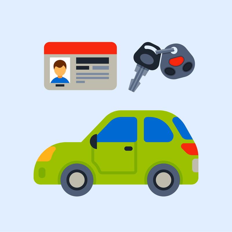 車と免許とキーの絵